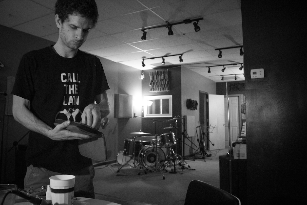 Black and white photograph of recording engineer and drummer Cocoa Bishop